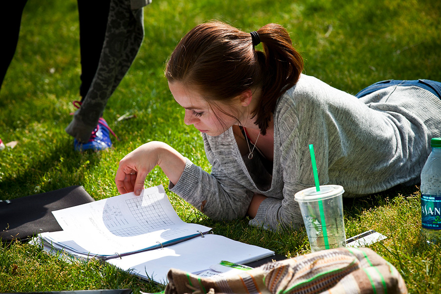 student studying on the quad lawn