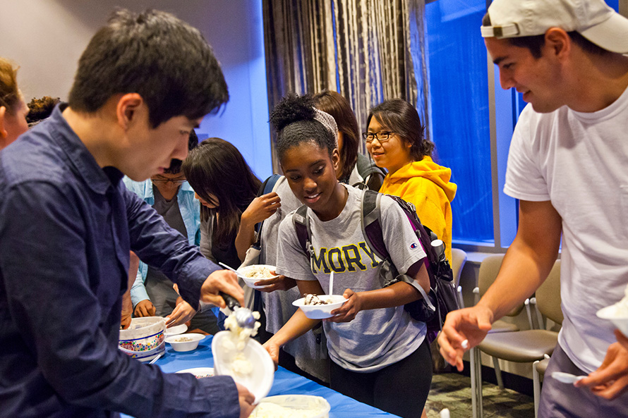 students serving ice cream