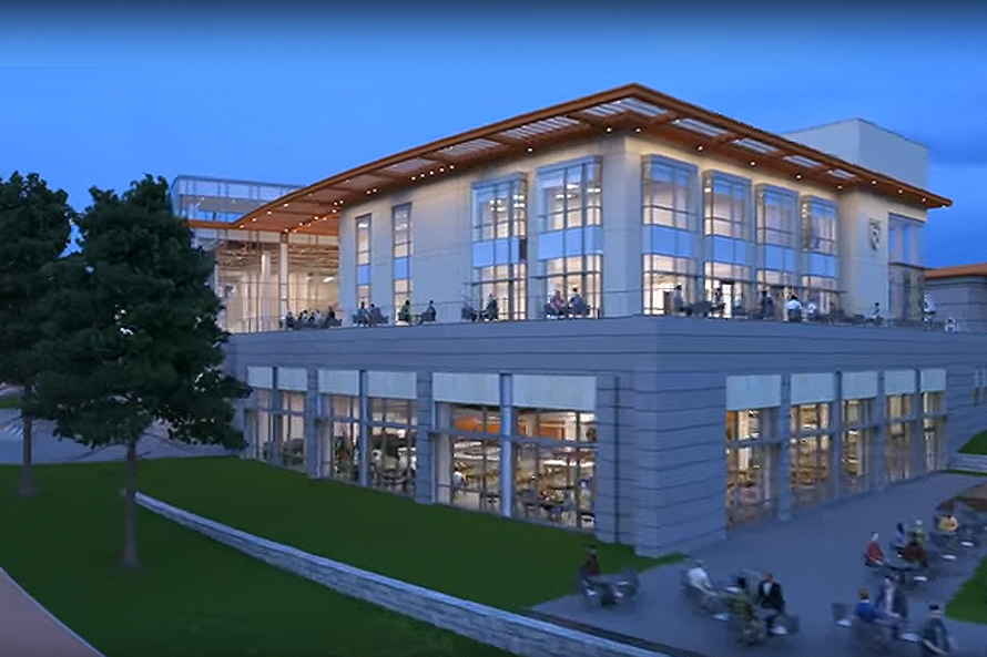 rendering of the under-construction Student Life Center