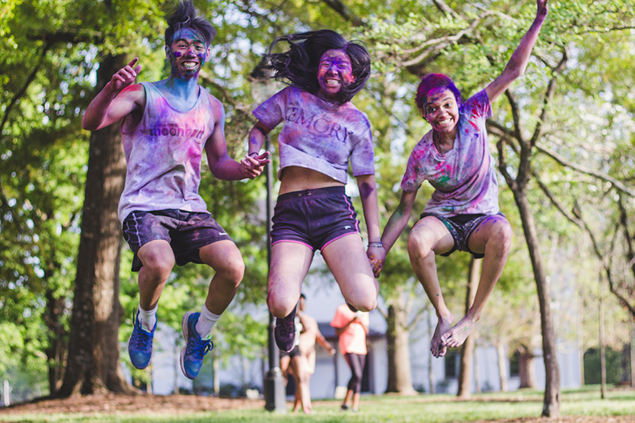 Oxford students jump after color run