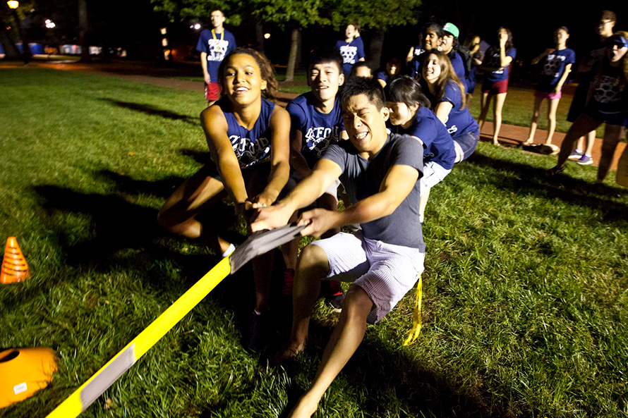 students tug-of-war at the Oxford olympix