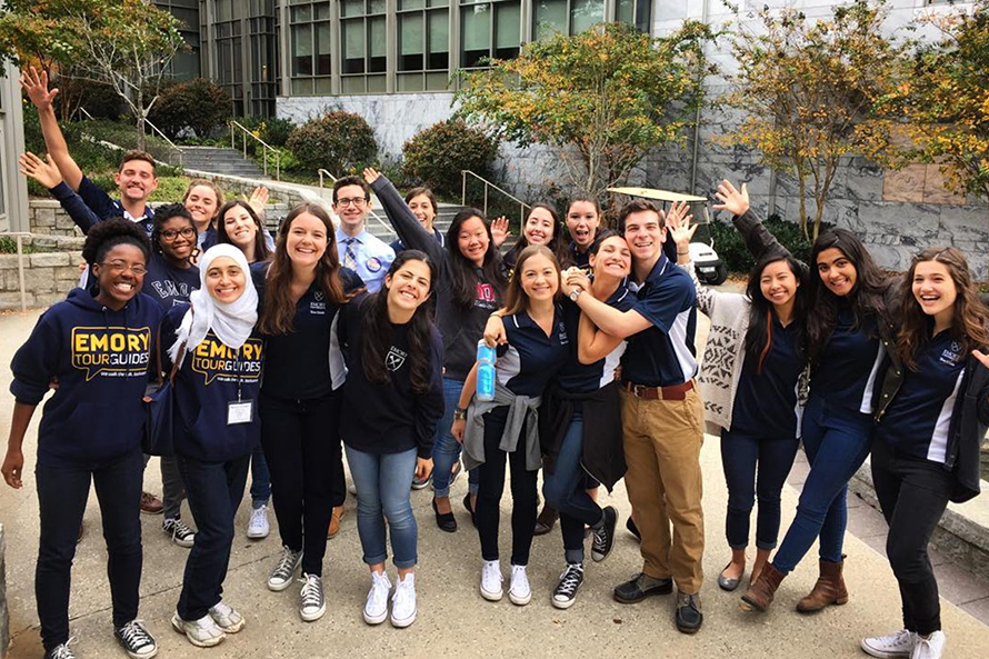 Emory counselor's selfie with open house audience
