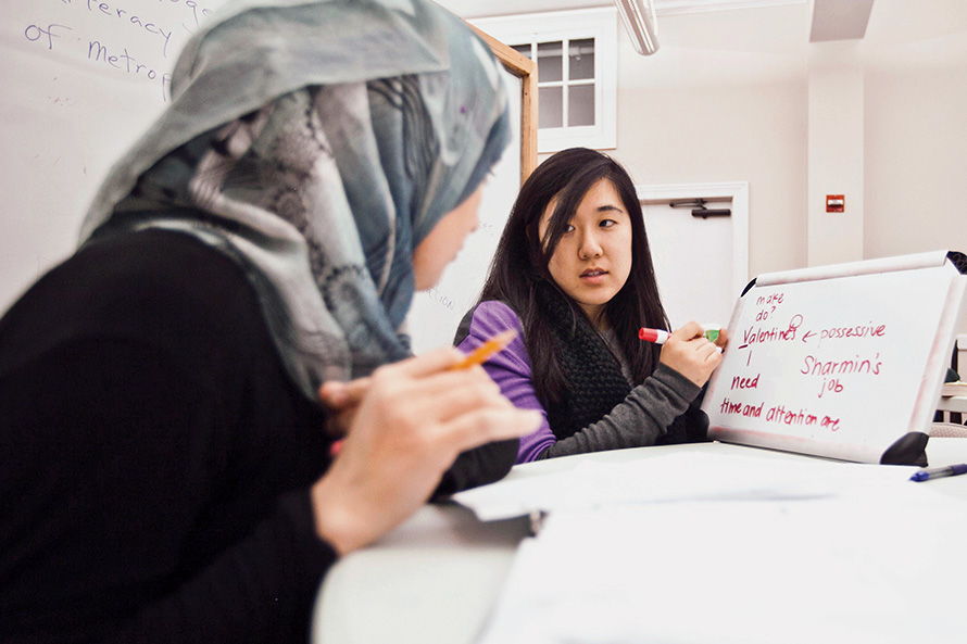 An international student receives tutoring