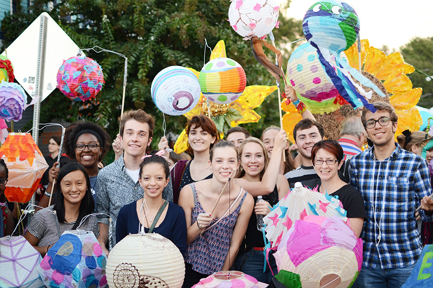 Emory scholars at the ATL beltline lantern parade