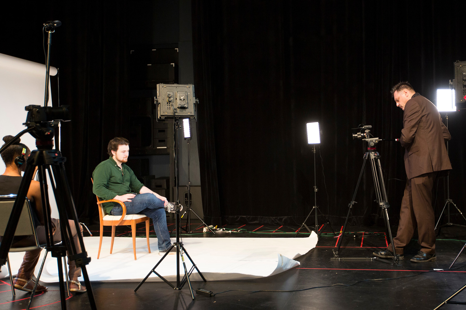 students on a video production set