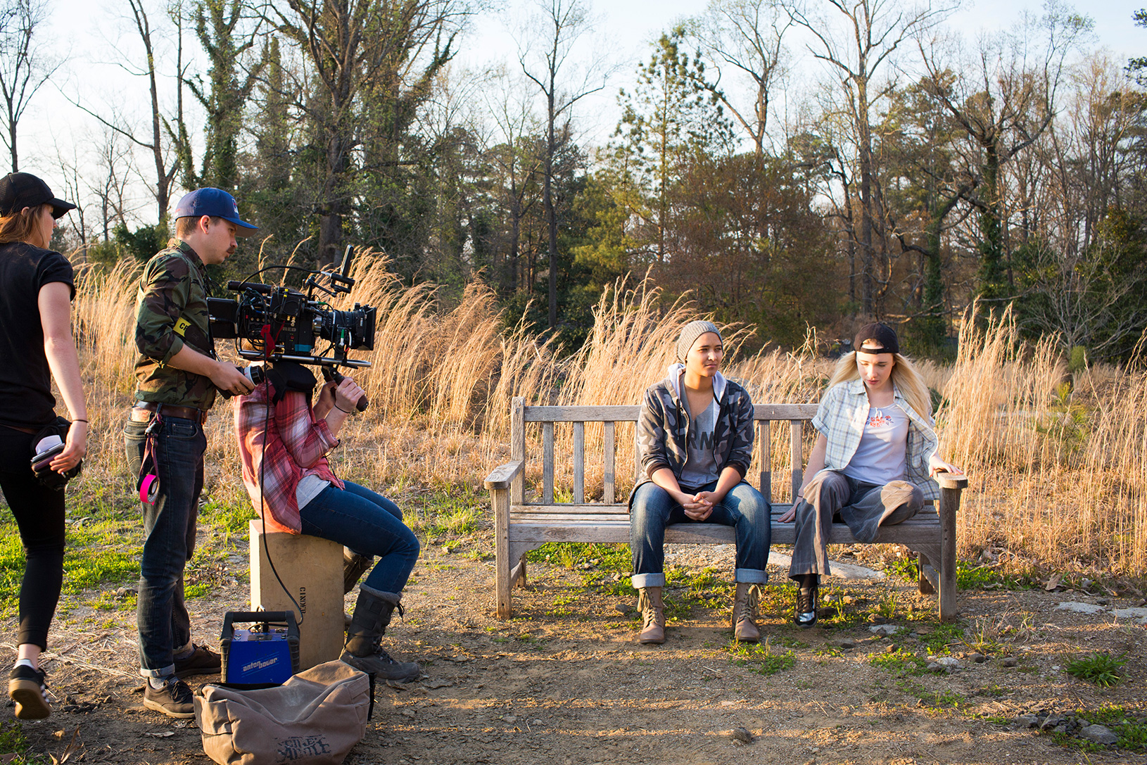 students on an outdoor film production